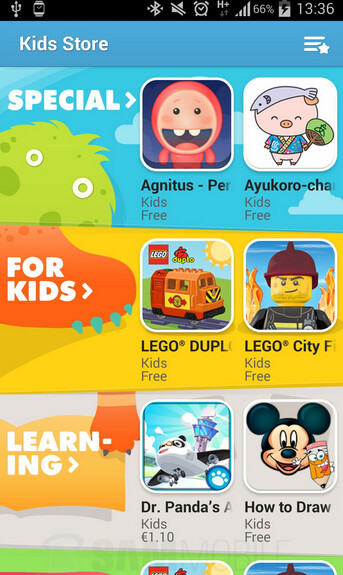 Leaked screenshots from Kids Mode for the Samsung Galaxy S5 - Samsung's Kid Store for Samsung Galaxy S5 won't let junior wipe out your bank account