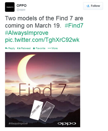 Oppo teases two versions of the soon to be unveiled Oppo Find 7