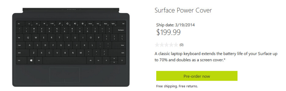You can now pre-order the Microsoft Power Cover from the Microsoft Store - Microsoft Surface Power Cover with embedded battery available for pre-order