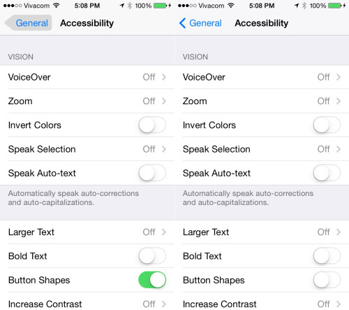 New accessibility options