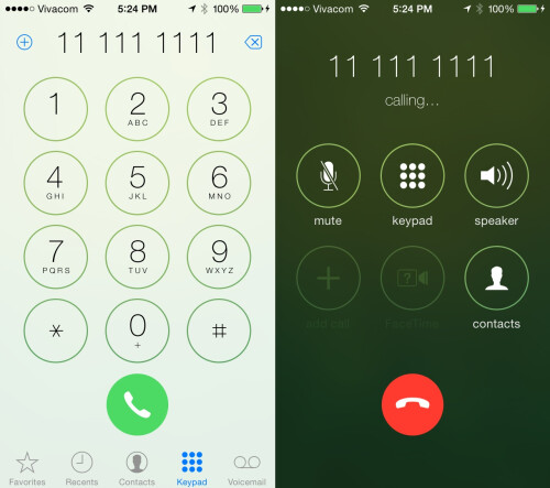 New call options: little call animation, add new contact button