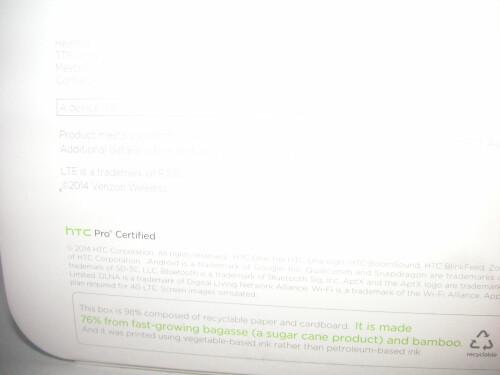 Verizon-branded HTC One (2014) retail packaging