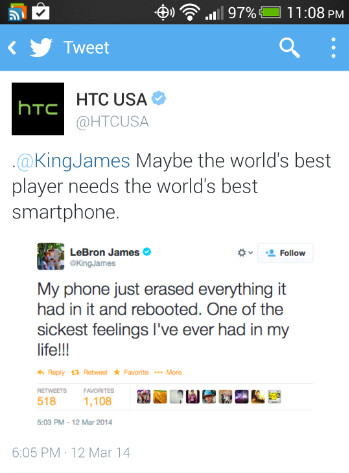 LeBron James tweets about his phablet and HTC throws its two cents in - Lebron James is upset as his Samsung Galaxy Note 3 crashes and burns