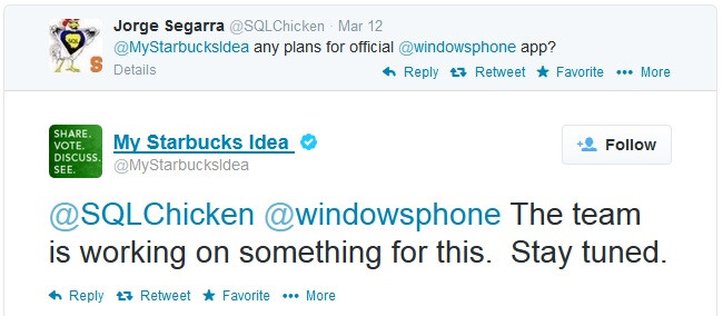 """Starbucks is """"working on something"""" for Windows Phone"""