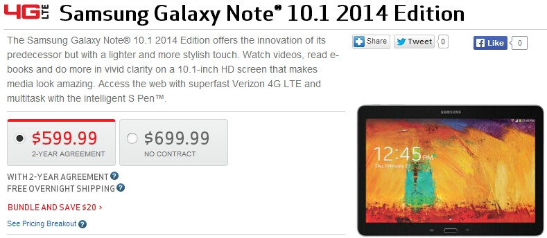 Verizon now sells the Samsung Galaxy Note 10.1 2014, offers Google's Nexus 7 2013 for $49.99 on contract