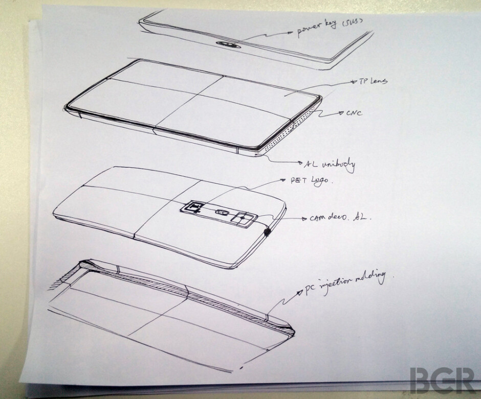 Alleged OnePlus One design sketches. Click to zoom in. - OnePlus One aims big: leaked design sketches reveal an aluminum unibody