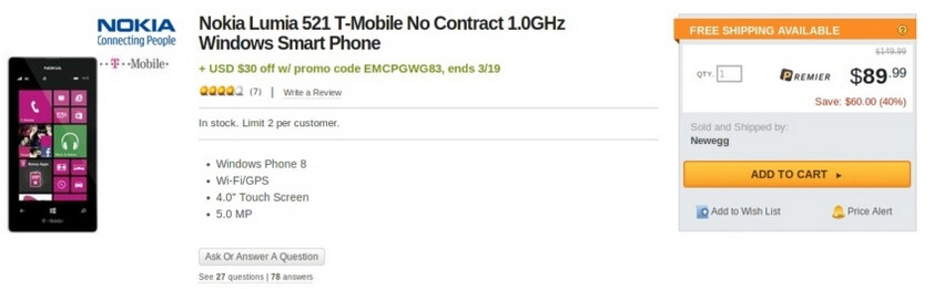 Get the Nokia Lumia 521 for just $59.99 sans contract from Newegg - Until March 19th, you can pick up T-Mobile's Nokia Lumia 521 for $59.99; no contract required