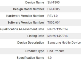 Samsung SM-T805 (possibly a new Galaxy Tab Pro) receives its Bluetooth certification