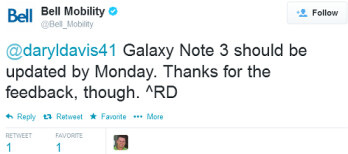 Bell says that its version of the Samsung Galaxy Note 3 will be getting the eagerly awaited Android 4.4.2 update by Monday at the latest