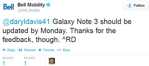 Bell says that its version of the Samsung Galaxy Note 3 will be getting the eagerly awaited Android 4.4.2 update by Monday at the latest - Bell says KitKat update coming by Monday to its Samsung Galaxy Note 3