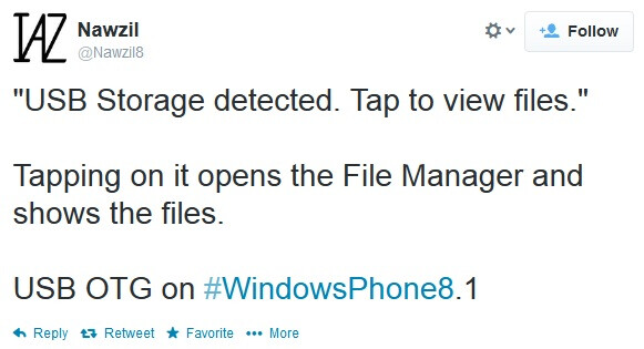 Windows Phone 8.1 may support USB on-the-go