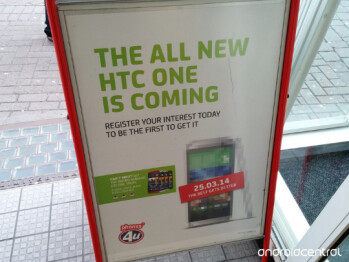 The All New HTC One is advertised on a U.K. street