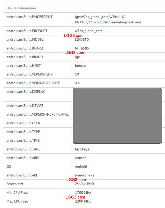 Purported LG G3 (D-850) benchmark screenshot confirms QHD display, hints at an octa-core MediaTek processor