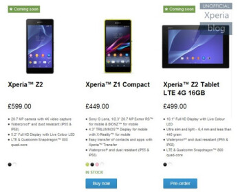 Sony removes the pre-order button from its listing of the Sony Xperia Z2 on regional Sony Store websites