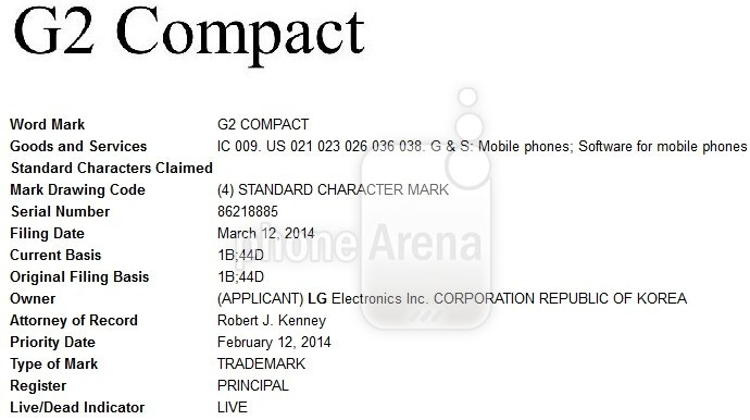 """LG wants to trademark the """"G2 Compact"""" name"""