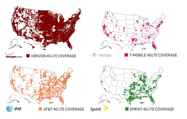 Coverage maps for different carriers come from Verizon's official webpage - Which carrier offers the fastest mobile data and coverage: 4G / 3G speed comparison