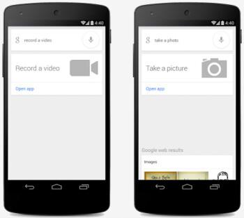 Say Ok Google, take a video (L) or take a picture (R)