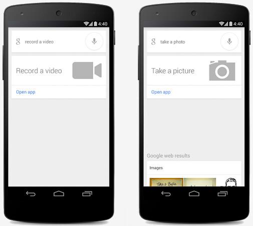 """Say Ok Google, take a video (L) or take a picture (R) - """"Ok Google, take a picture."""" Snap."""