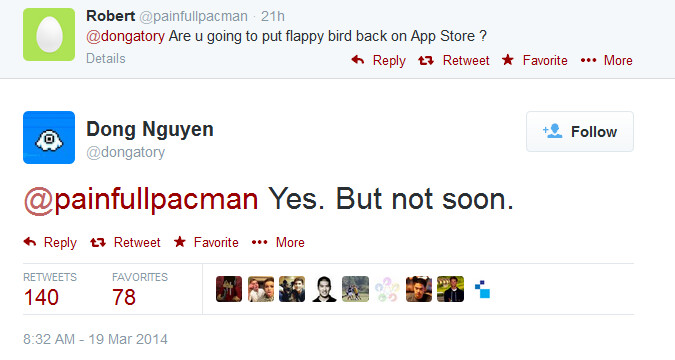 Flappy bird is coming back to the app store just not now game will
