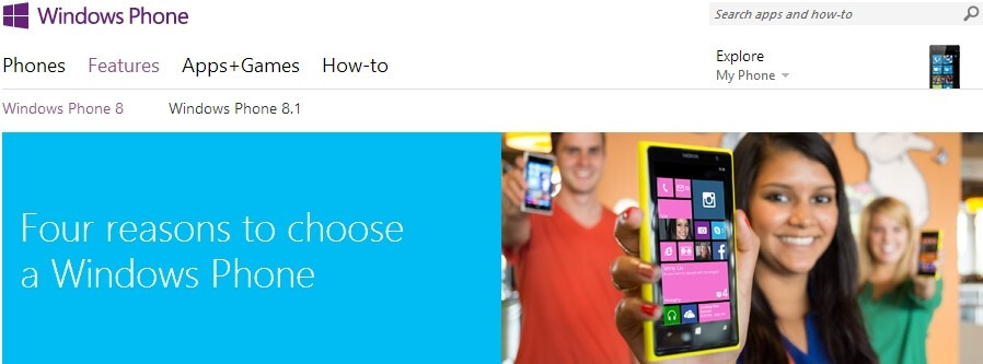 Microsoft almost lists Windows Phone 8.1's features on its website