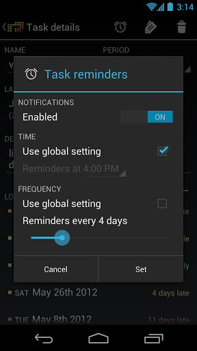 Regularly app reminds you of tasks that can wait