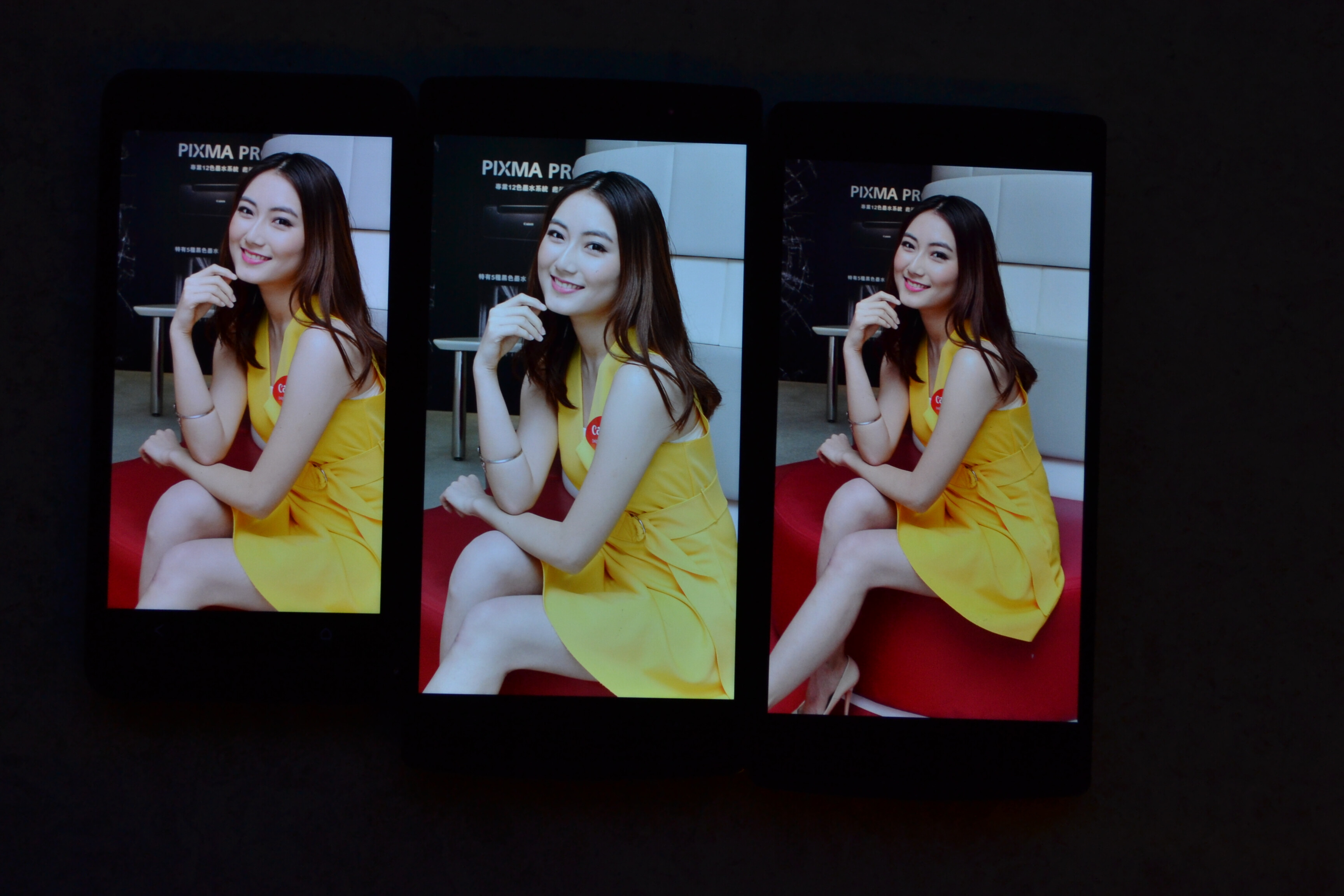 Left to right - HTC One, Oppo Find 7 (middle), Find 7a