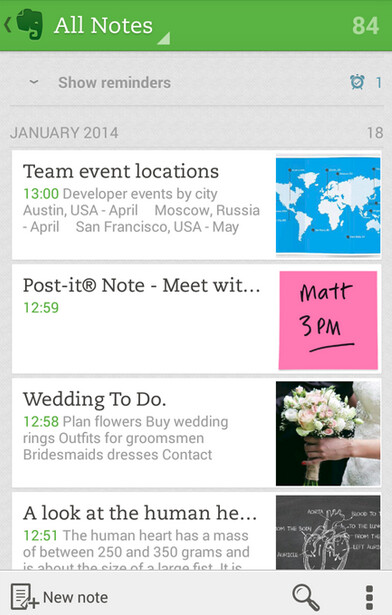 Evernote screenshots