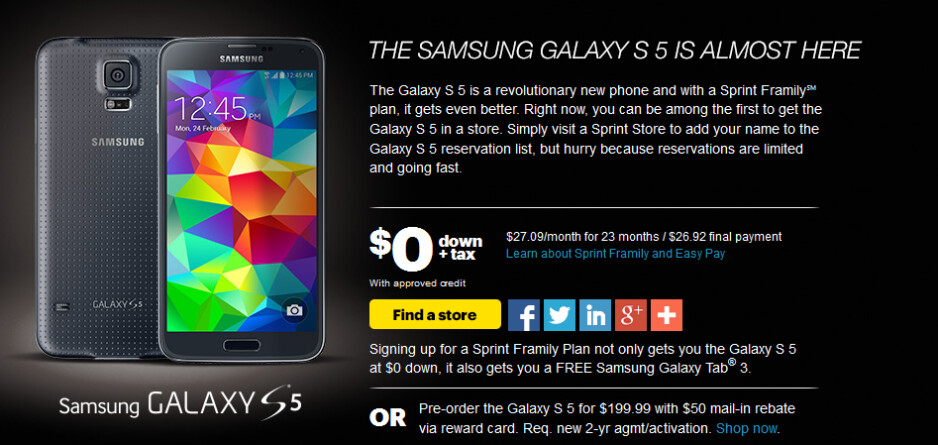 Sprint is accepting pre-orders for the Samsung Galaxy S5 starting today - Sprint confirms April 11th release date for the Samsung Galaxy S5; pre-orders start today