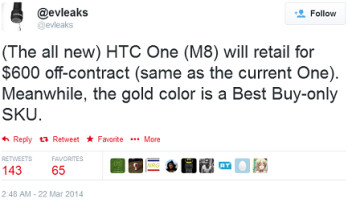 The non-contract price of the all new HTC One (M8) is leaked