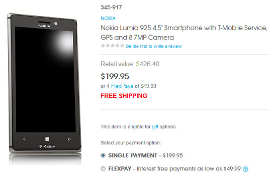 The Nokia Lumia 925 is just $199.95 at HSN - T-Mobile's Nokia Lumia 925 just $199.95 at HSN