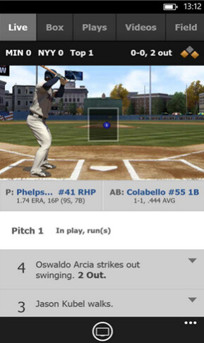 Screenshots from Windows Phone version of At Bat 14