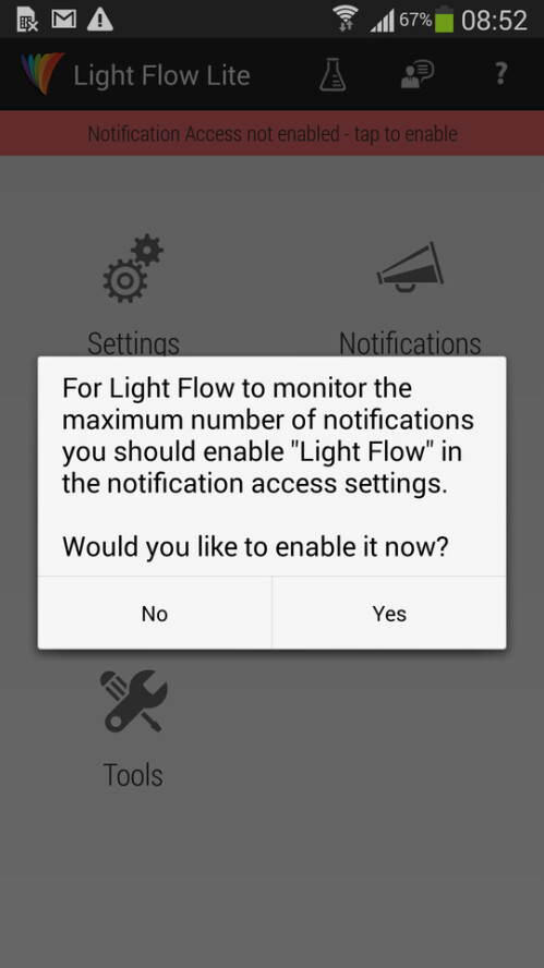 Let Light Flow access your notifications
