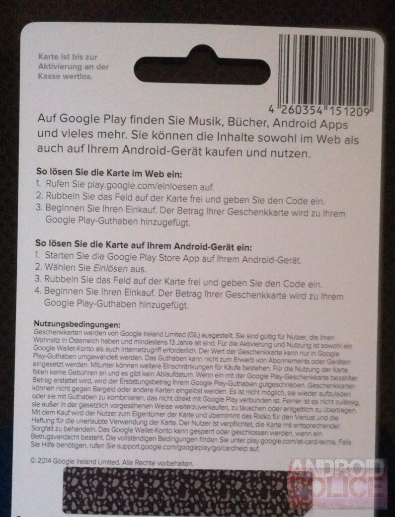 Google Play Gift Cards stealthily sneak into Austria