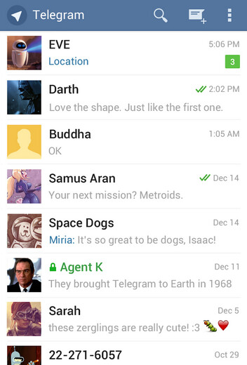 Screenshots from Telegram for Android - Telegram now has 35 million users and has carried 8 billion messages in the last 30 days
