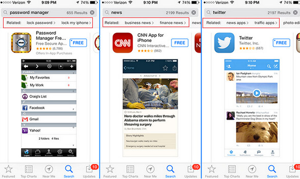 Examples of Apple testing new App Store search results - Apple tests new search feature for the App Store that helps you find related apps