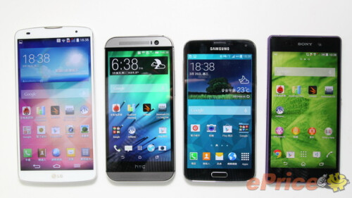 LG G Pro 2, HTC One M8, Samsung Galaxy S5, Sony Xperia Z2