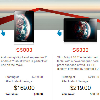 Lenovo's IdeaTab A1000, A3000, S5000, and S6000 discounted in the US