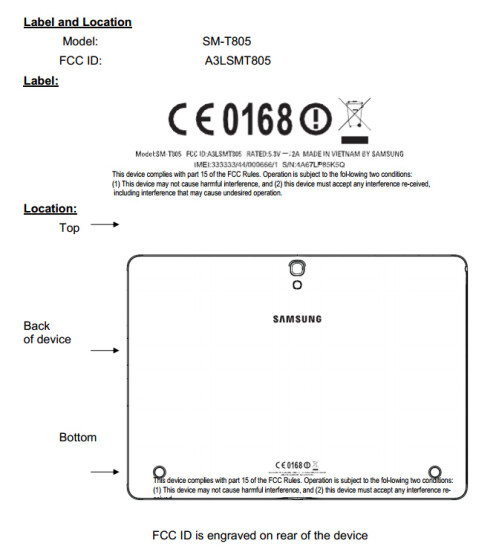 Samsung Galaxy tablet SM-T805 appears at the FCC with 10.5-inch display, Exynos 5 Octa SoC