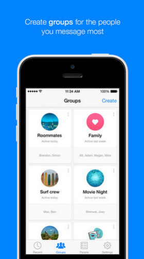Screenshots from Facebook Messenger for iOS. Note the groups on the right - Set up groups of family and friends with the latest update to Facebook Messenger for iOS