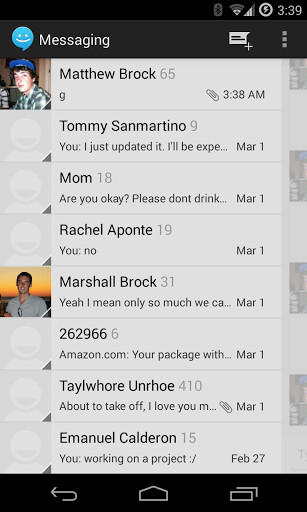 Sliding SMS (CM Messaging) is a quick replacement for Hangouts, brings your convos to the status bar
