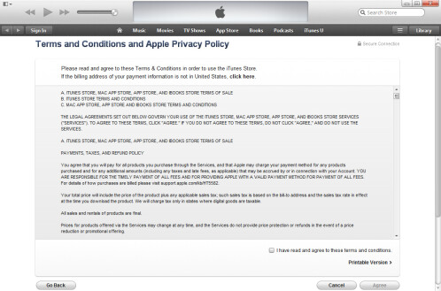 Agree with Apple's terms and conditions