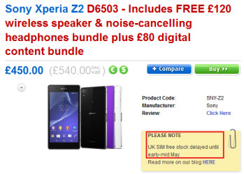 The SIM-free Sony Xperia Z2 is delayed in the U.K. until May