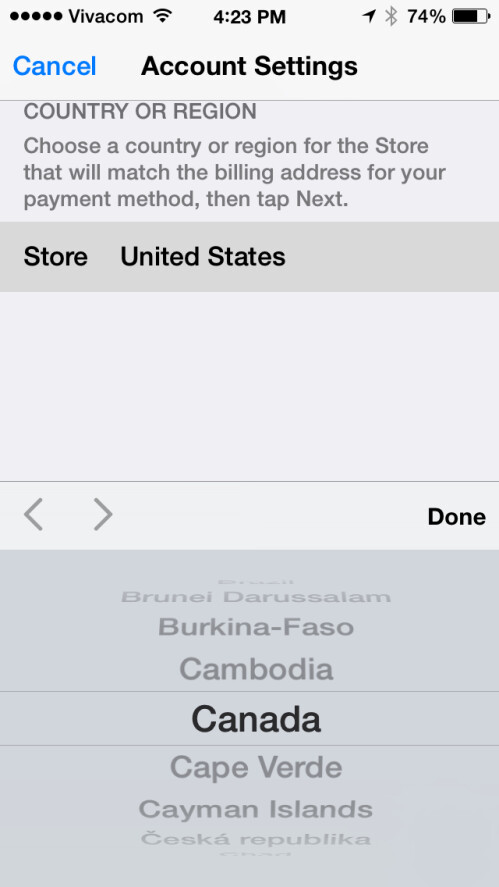 If asked, enter your country in your iDevice