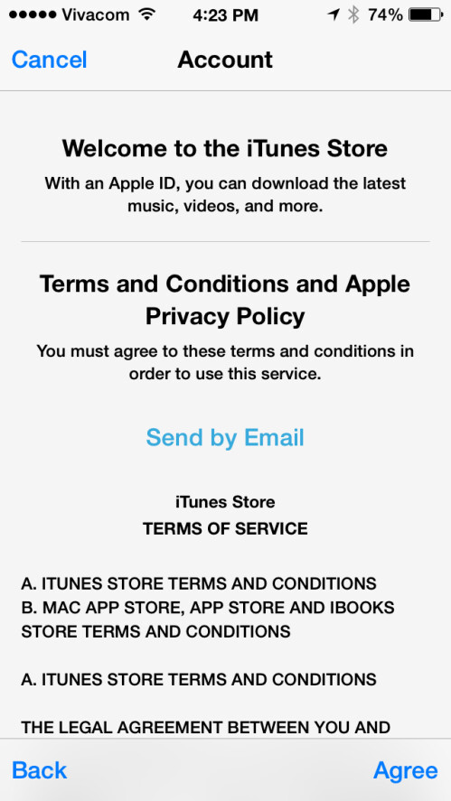 Agree with the terms and conditions