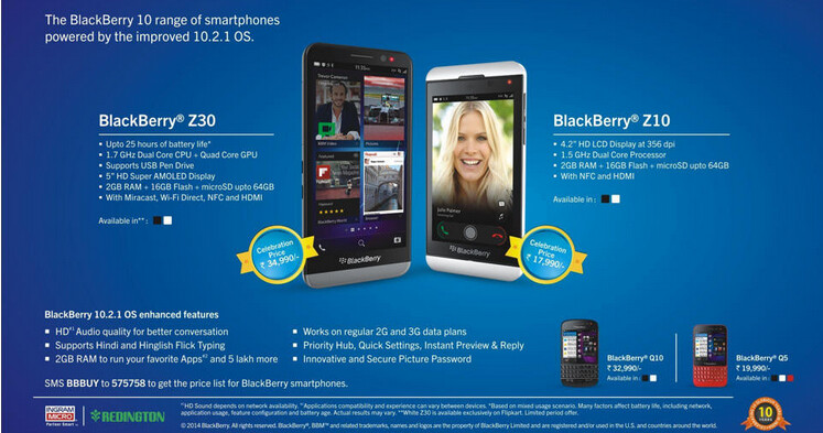 The BlackBerry Z10 and BlackBerry Z30 are both extremely popular in India - BlackBerry Z10 sells out in India