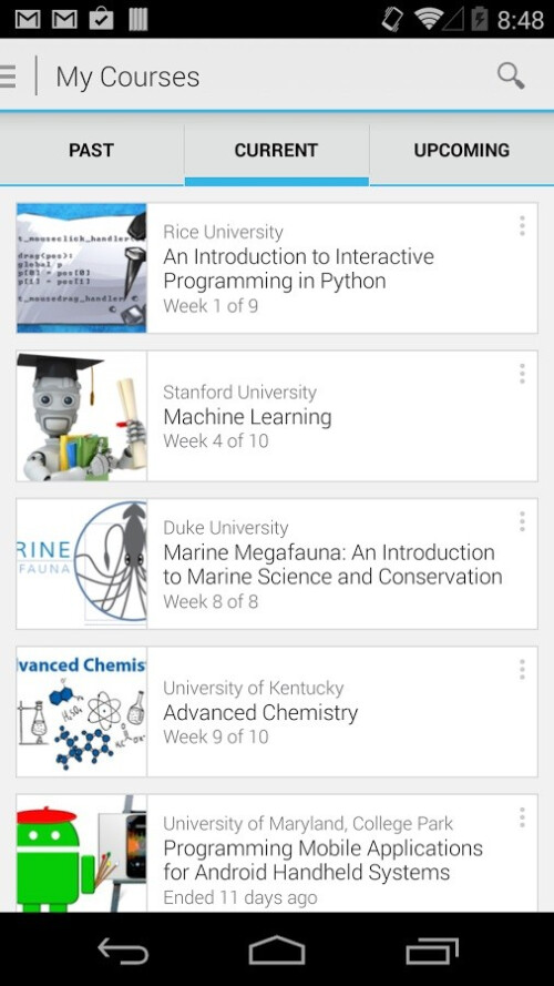 Official Coursera app available for Android devices