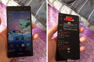 The front (L) and back of the unannounced Huawei Ascend P7 are preserved for posterity with these photos