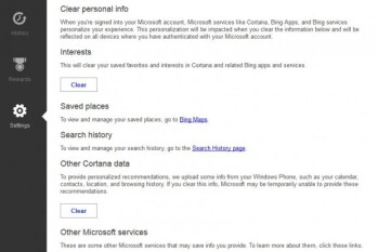 Cortana arrives... in Bing personalization settings