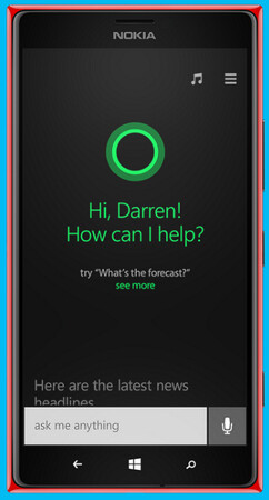 Cortana is represented by an animated circle