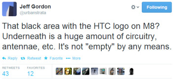 """The black area with the HTC logo on the One M8 isn't just """"empty"""" space, says exec"""